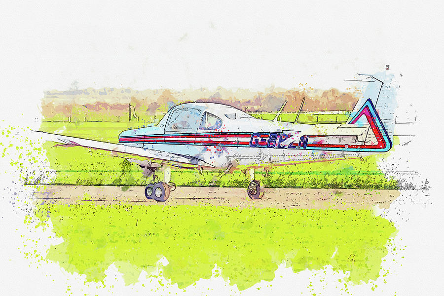 Fuji Fa- Aero Subaru G-bbzn War Planes In Watercolor Ca By Ahmet Asar Painting