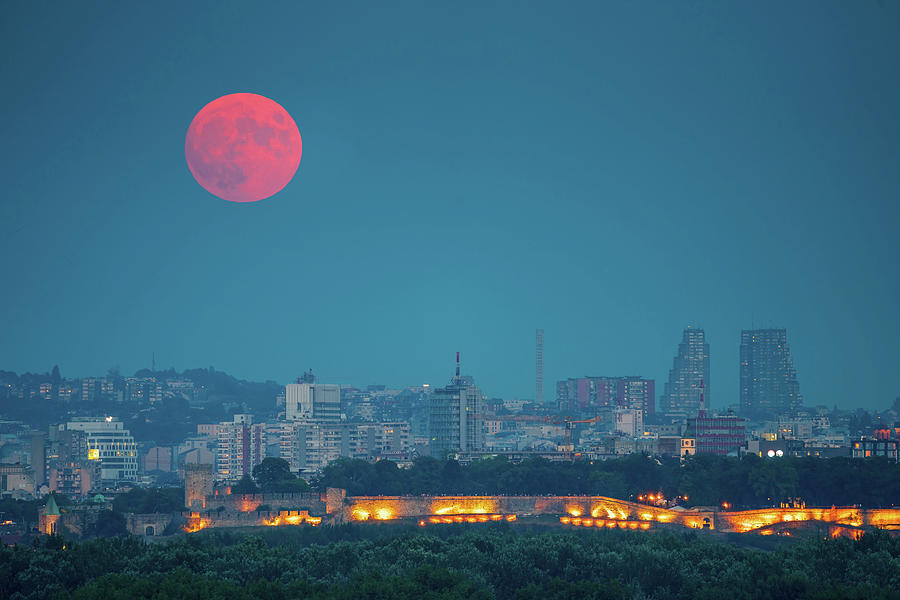 Moon Photograph - Full Blood Moon over Belgrade by Dejan Kostic