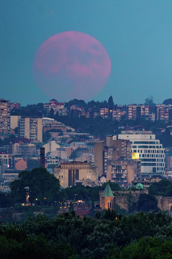 Moon Photograph - Full Blood Red Moon rising over Ruzica Church in Belgrade by Dejan Kostic