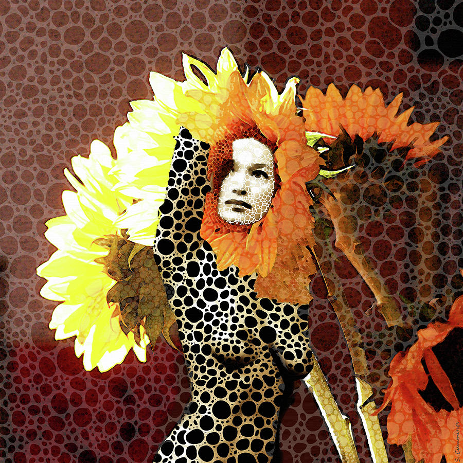 Nude Painting - Full Bloom - Nude Female Mosaic Art - Sharon Cummings by Sharon Cummings