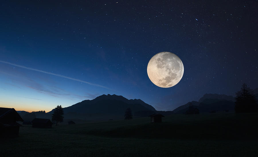 Full moon, Karwendel, Bavaria, Germany Photograph by Henglein and Steets