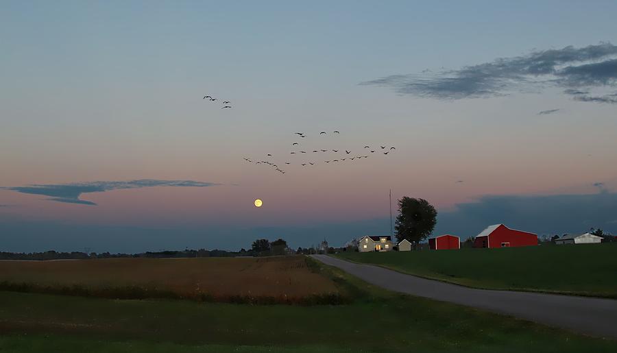 Full Moon Over Indiana Farm Photograph