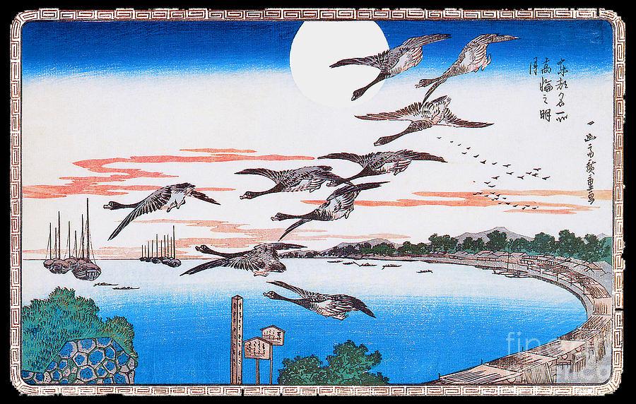 Full Moon Over Takanawa 1831 Painting