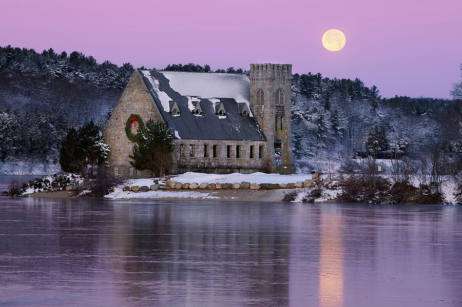 Full Photograph - Full Moon Over The Old Stone Church by John Cannon