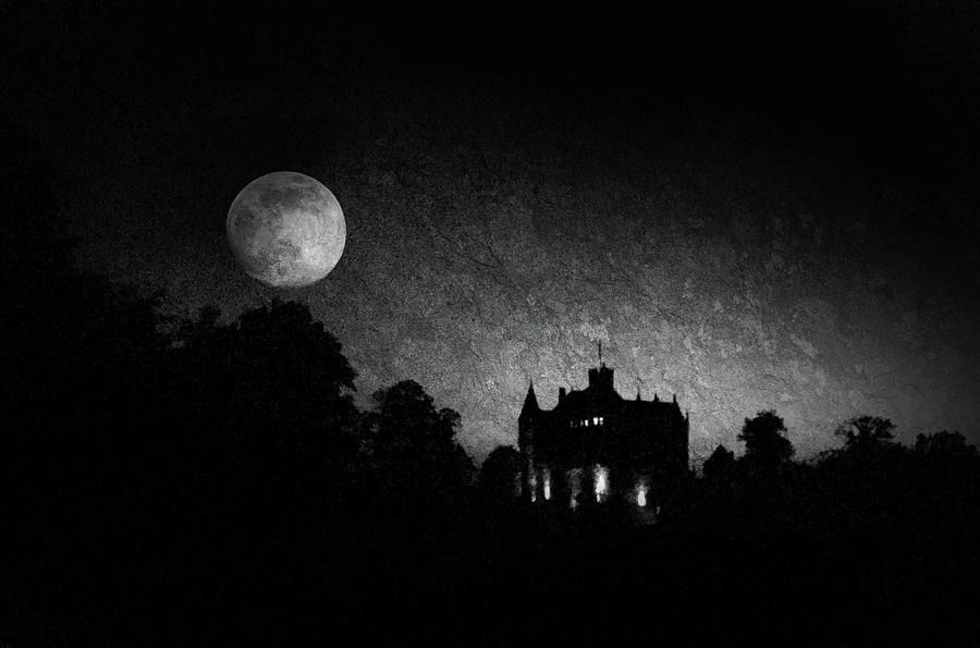 Full Moon Rising Over The Castle Photograph