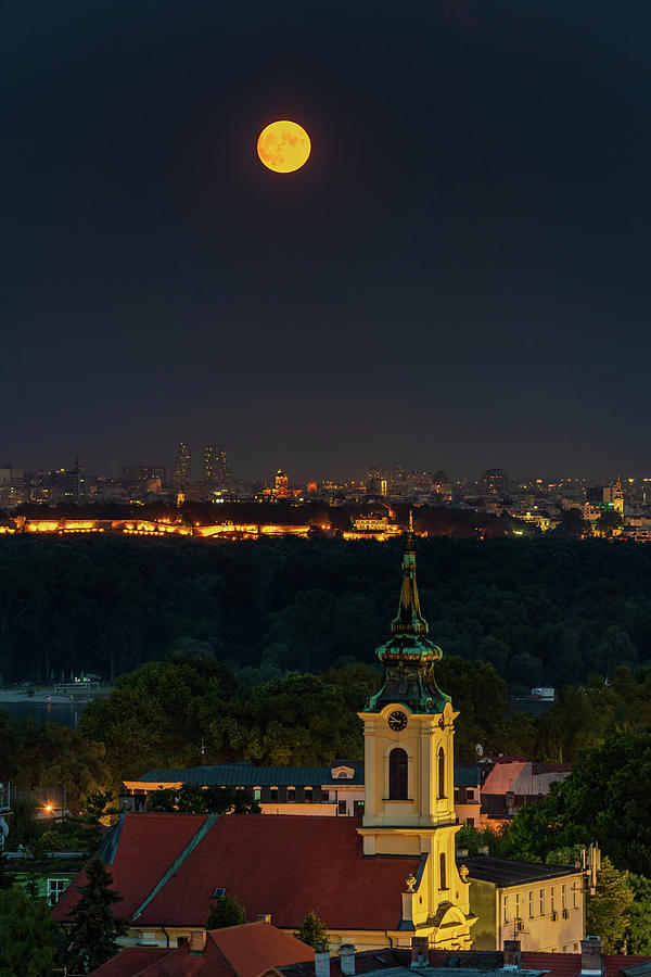 Moon Photograph - Full Moon rising over Zemun and Belgrade by Dejan Kostic
