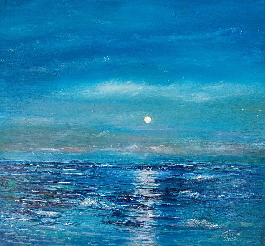 Seascape Painting - Full Moon Seascape by Tony Rodriguez