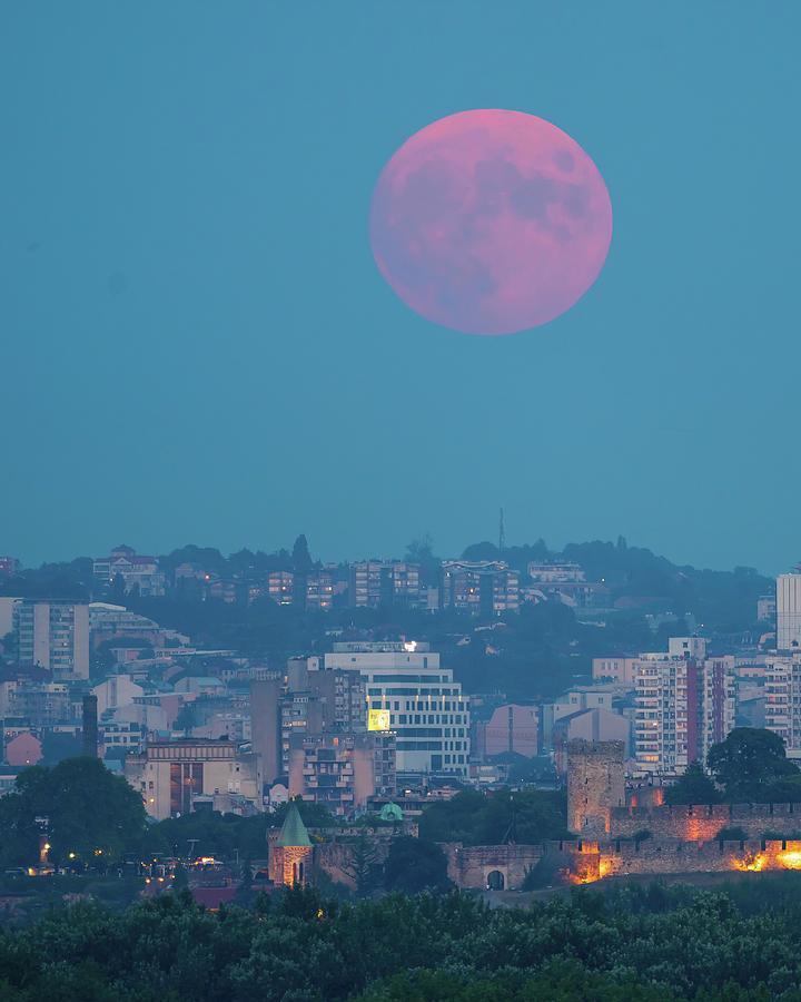 Moon Photograph - Full Red Moon rising over Ruzica Church in Belgrade by Dejan Kostic