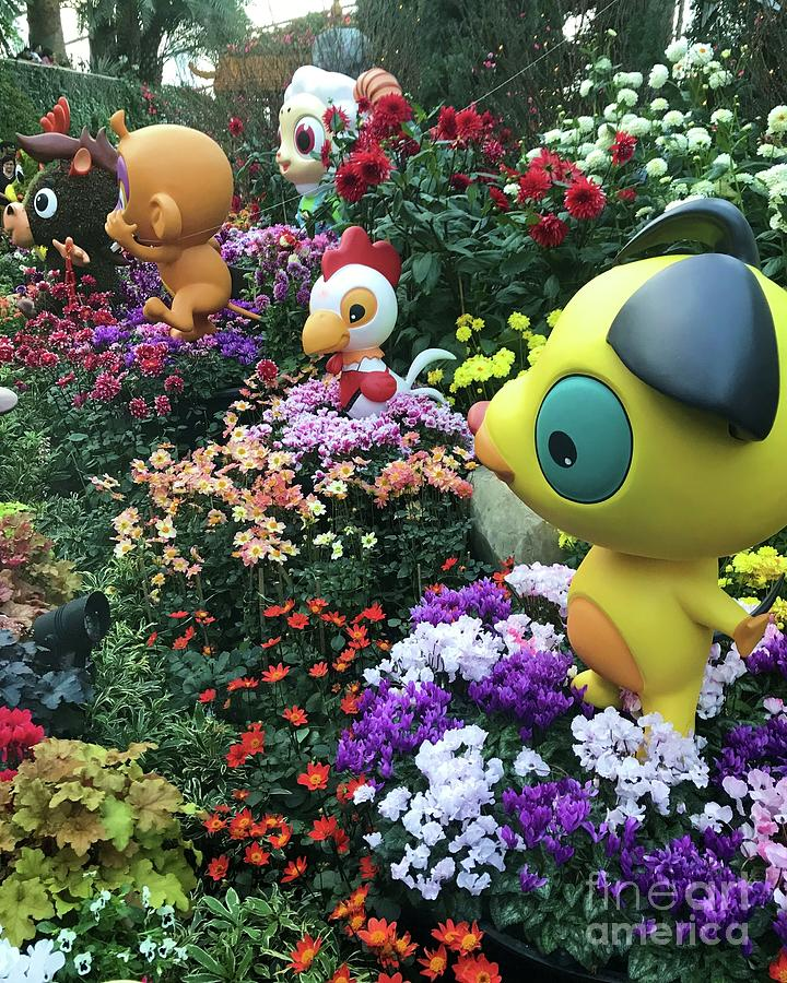 Fun Figures In The Flowers Photograph