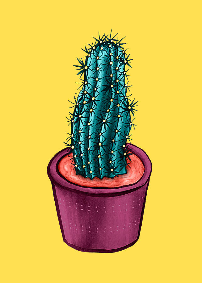 Funny Cactus Pot Yellow Trippy Psychedelic Drawing