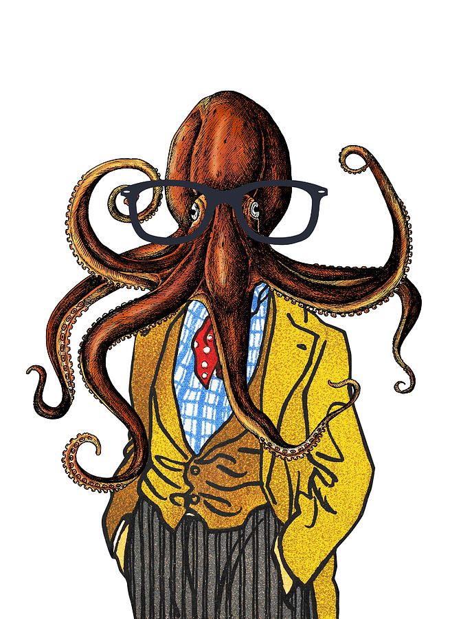 Octopus Digital Art - Funny octopus with glasses by Mihaela Pater