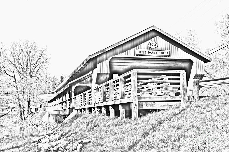 FX-1-J Little Darby Creek Covered Bridge by Ohio Stock Photography Art Prints