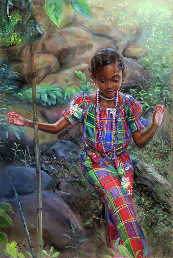 Caribbean Painting - Gabrielle Among Bounlders by Jonathan Guy-Gladding JAG
