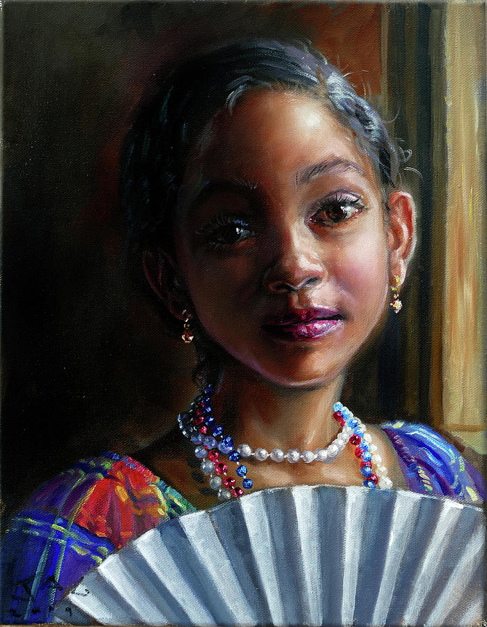 Children Painting - Gabrielle with Fan by Jonathan Guy-Gladding JAG