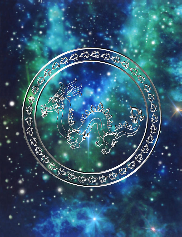 Dragon Drawing - Galactic Dragon by Mary J Winters-Meyer