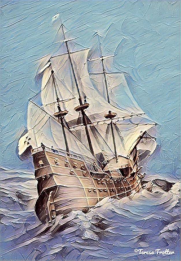 Galleon Sailing The Seas Painting