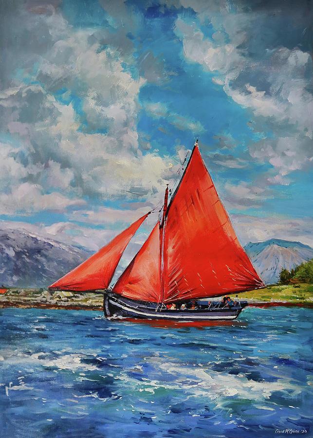 Galway Hooker At Full Sail Painting