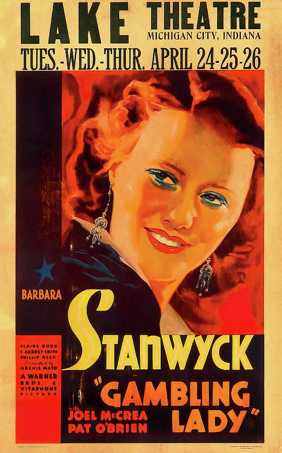 gambling Lady, With Barbara Stanwyck, 1934 Mixed Media