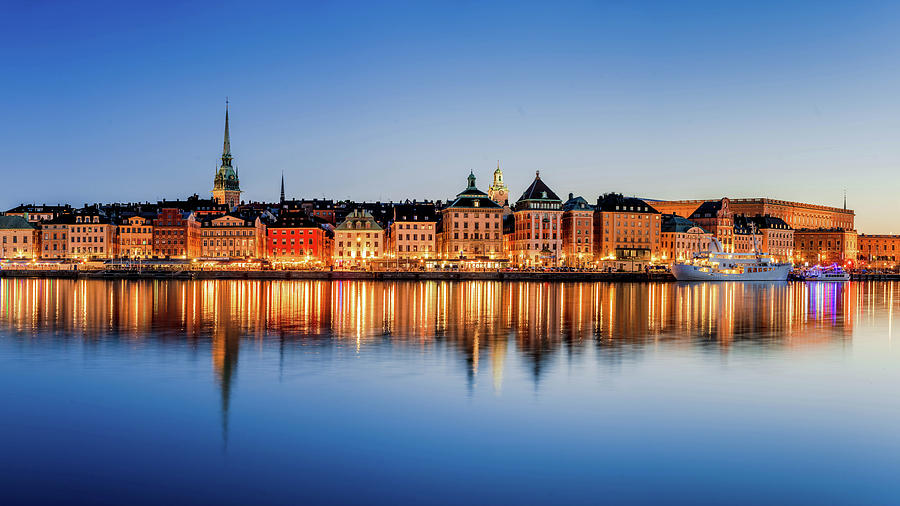 Stockholm Photograph - Gamla Stan Reflection in the Baltic Sea by Dejan Kostic