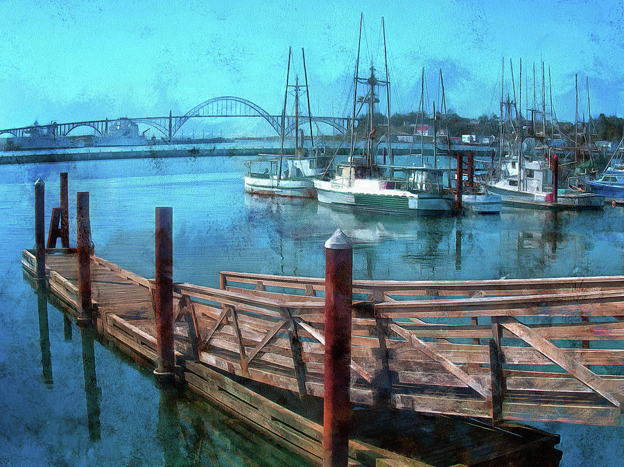 Gangway And Dock On Yaquina Bay by Thom Zehrfeld