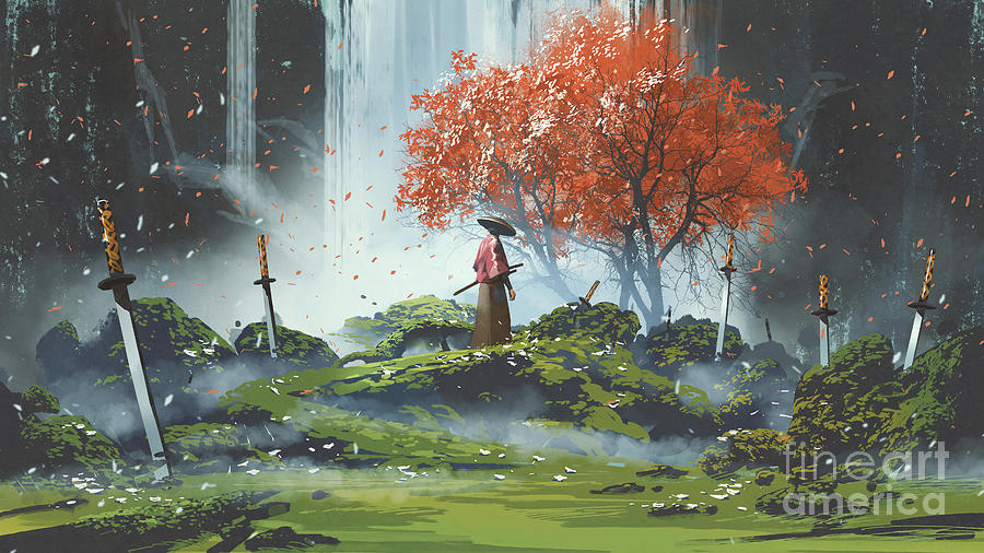 Garden Of The Katana Swords Painting