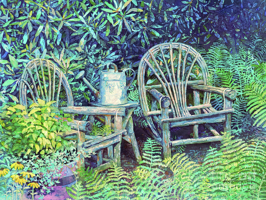 Garden Painting - Garden Retreat-Cyan by Hailey E Herrera
