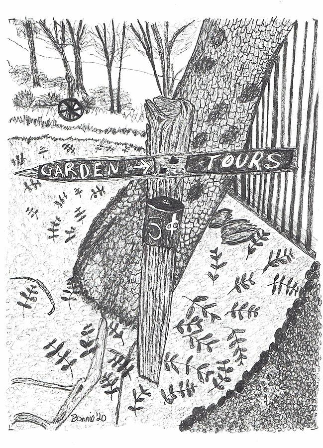 Garden Drawing - Garden Tours by Bonnie McKeegan