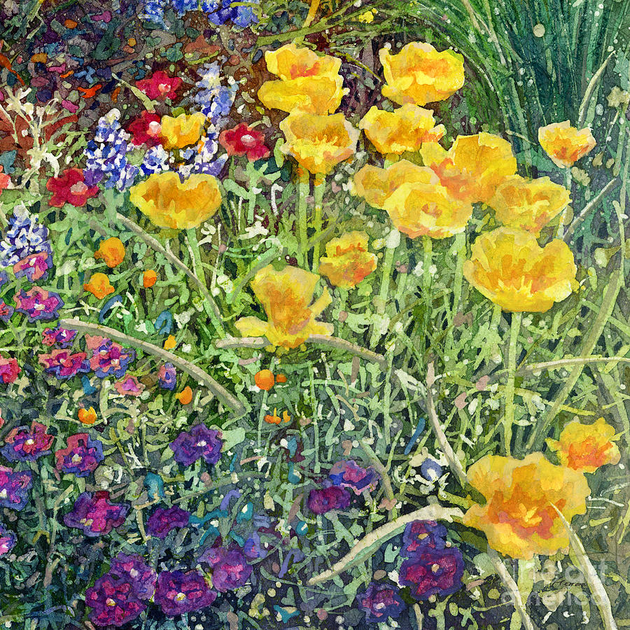Garden Painting - Gardeners Delight-Yellow Flowers by Hailey E Herrera