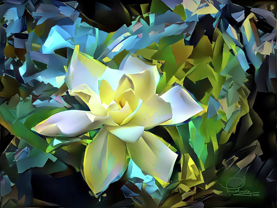 Flower Digital Art - Gardenia Blossom 2 by Ludwig Keck