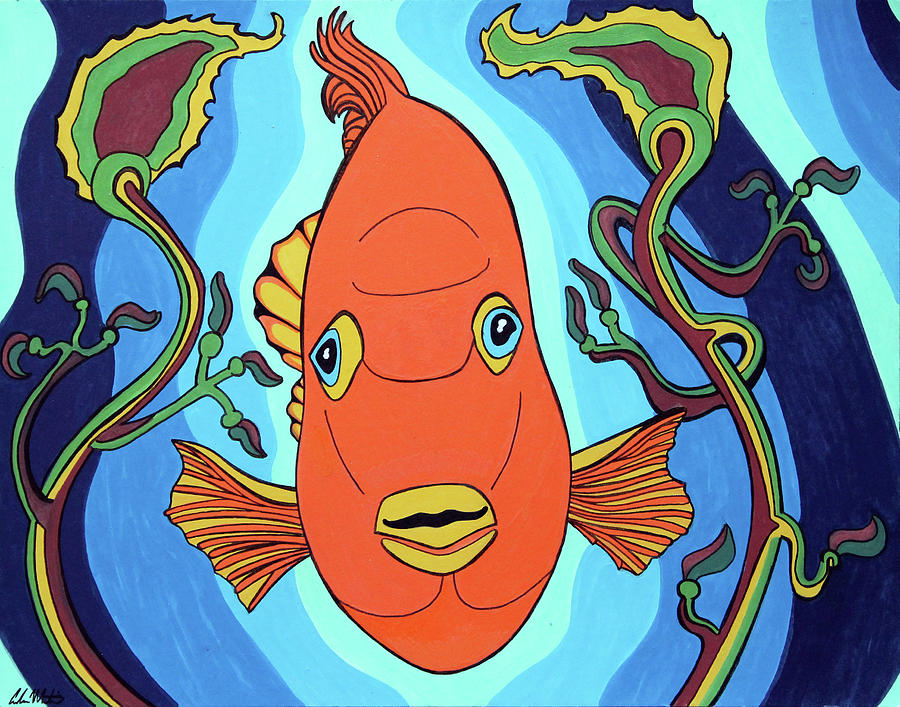 Fish Painting - Garibaldi by Carlos Martinez