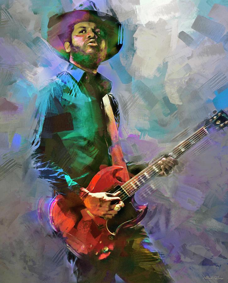 Gary Clarke Jr Blues Guitar Master Mixed Media