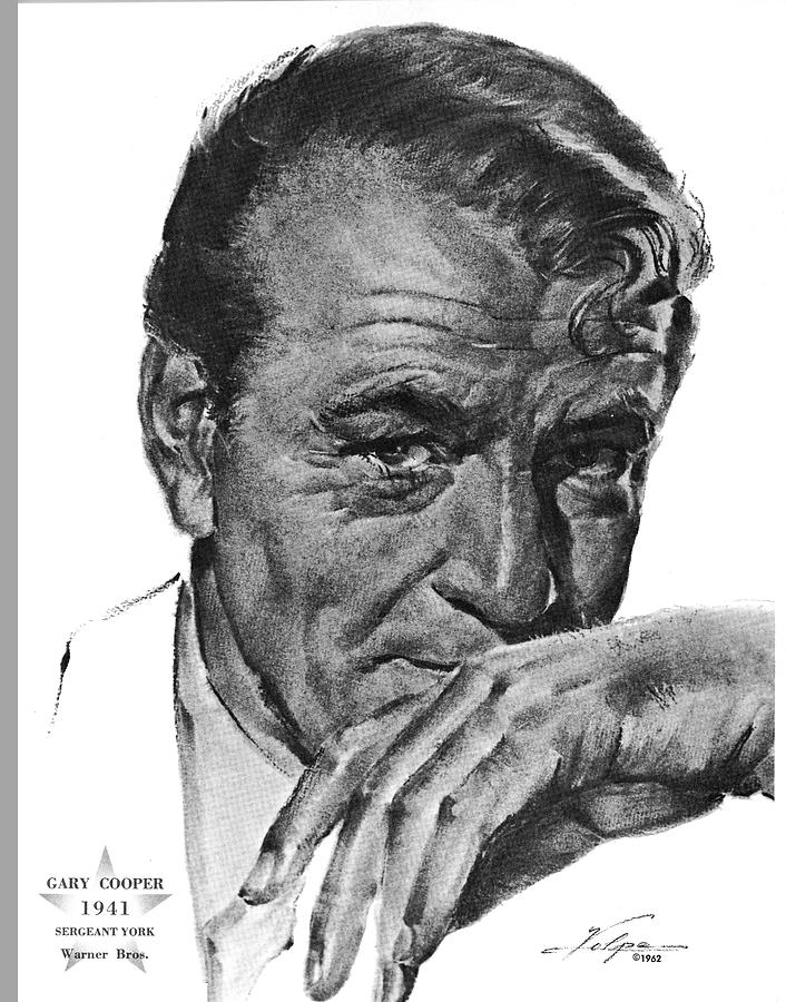 Gary Cooper By Volpe Drawing