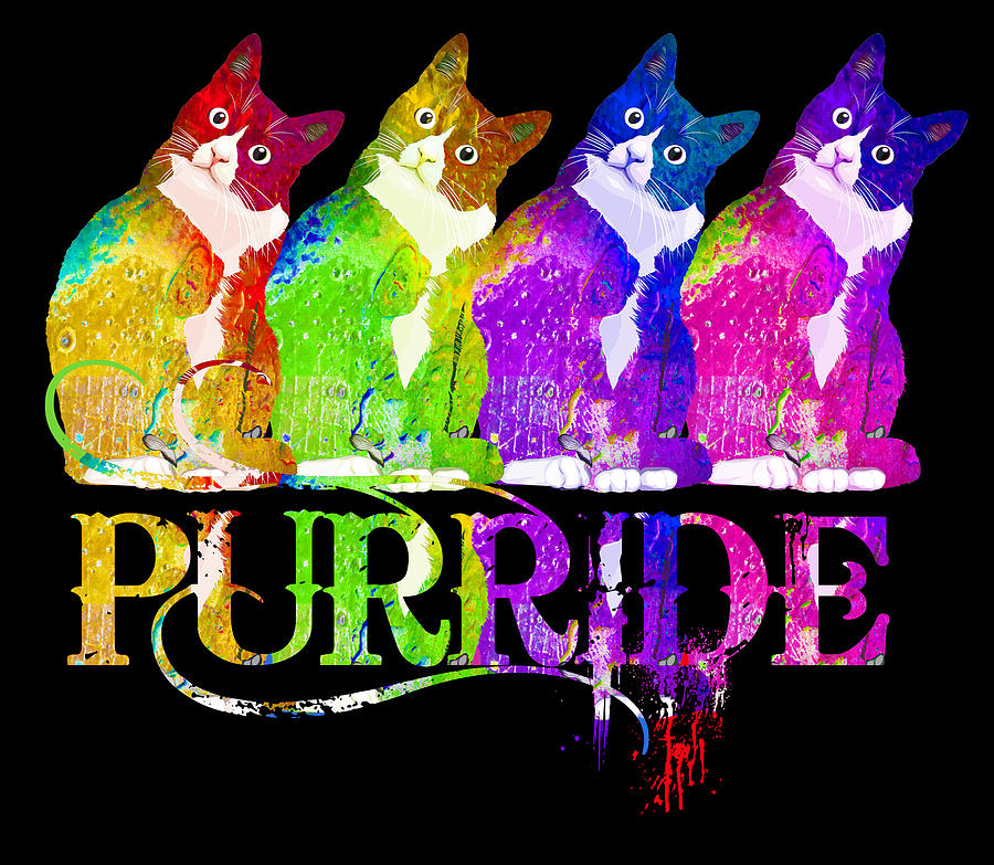 Gay Pride Tee For Women Men Purride Lgbt Rainbow Cat Lover Painting