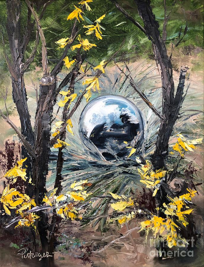 Gazing Ball And Forsythia Painting