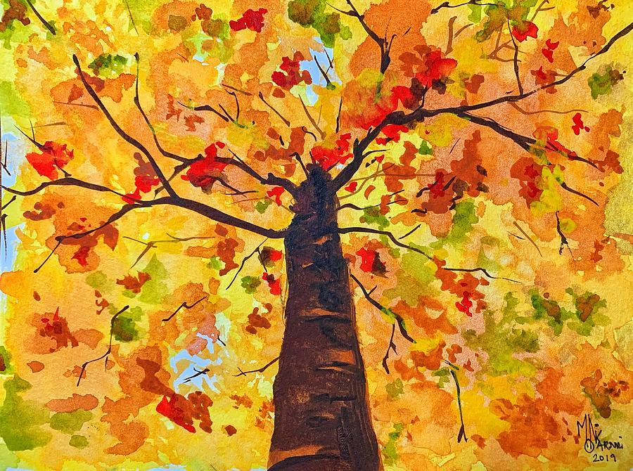 Watercolor Painting - Gazing up at Fall by Monika Arturi