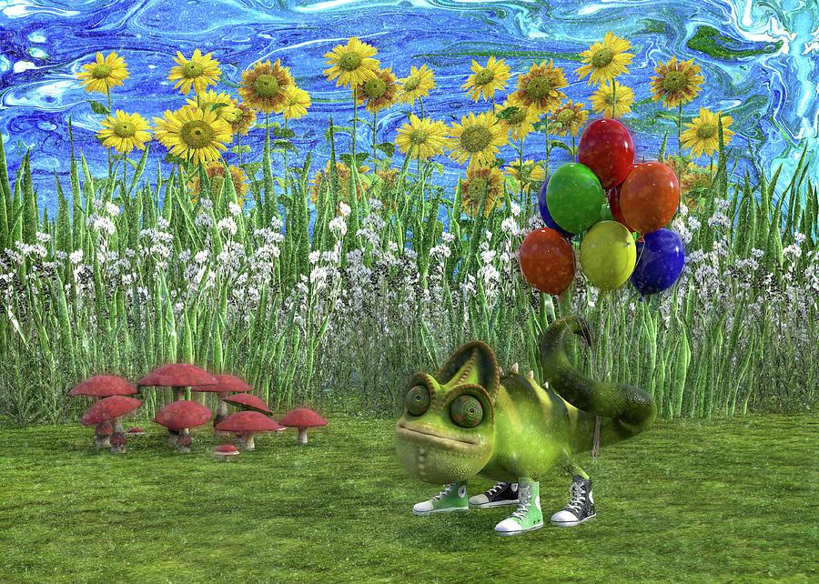 Gecko Chameleon With Balloons Digital Art