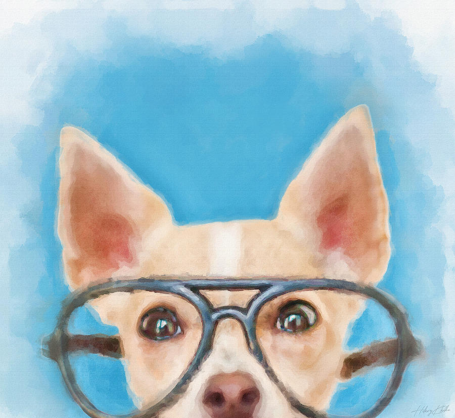 Taco The Geeky Chihuahua Painting