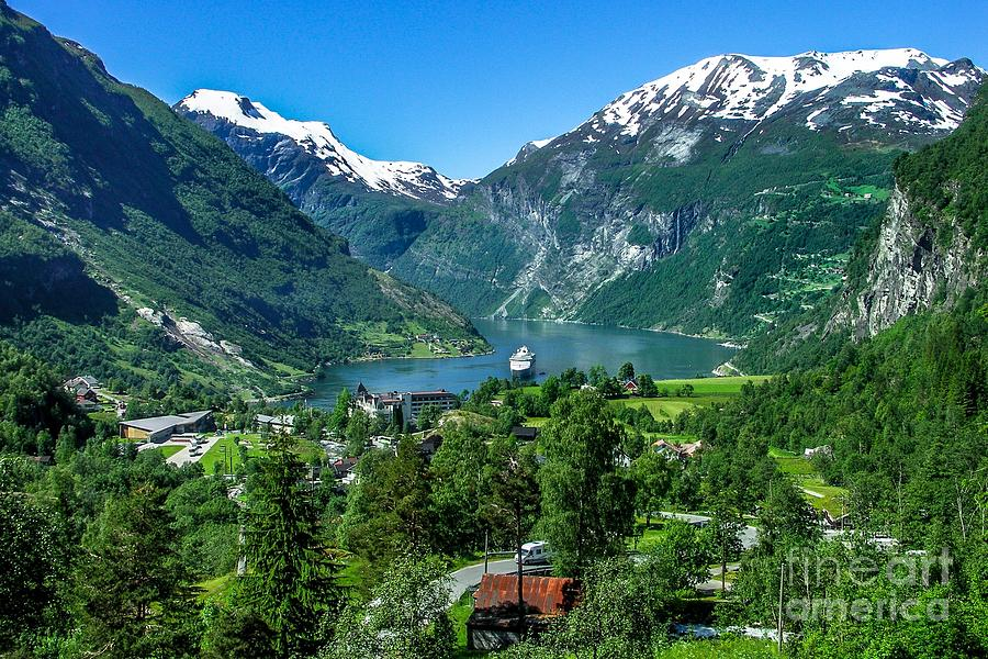 Geiranger Norway Fjord  by David Meznarich