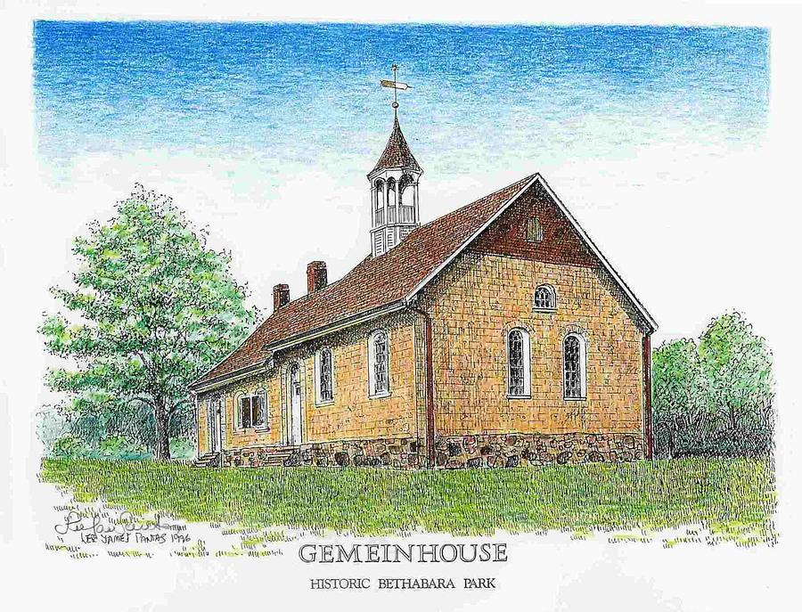Old Salem Drawing - Gemeinhouse at Bethabara Park by Lee Pantas