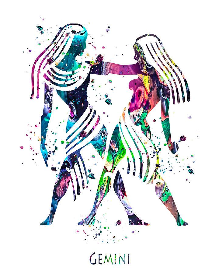 Gemini Painting - Gemini Zodiac Sign by Zuzi s