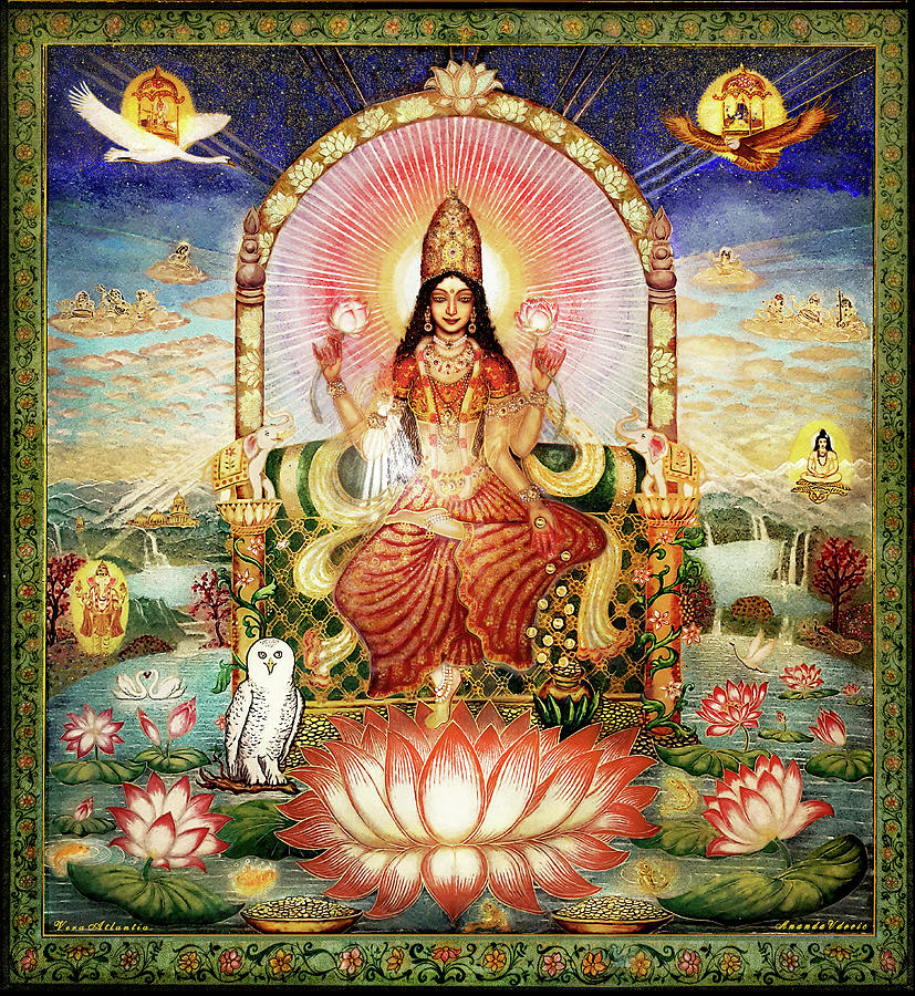Goddess Glass Art - Gemstone-Painting Lakshmi on the Lotus Throne by Ananda Vdovic