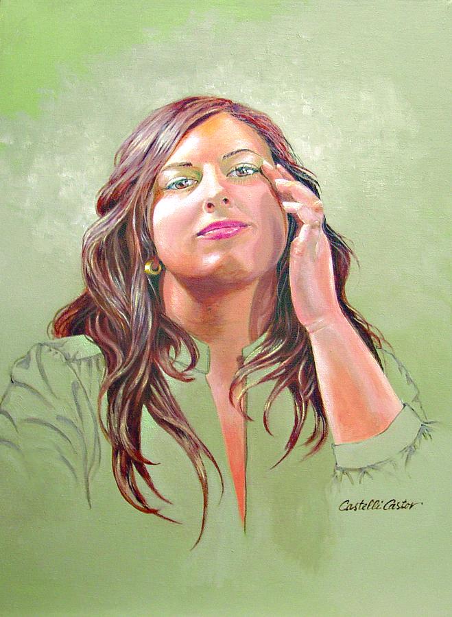 Portrait Painting - Gena by JoAnne Castelli Castor