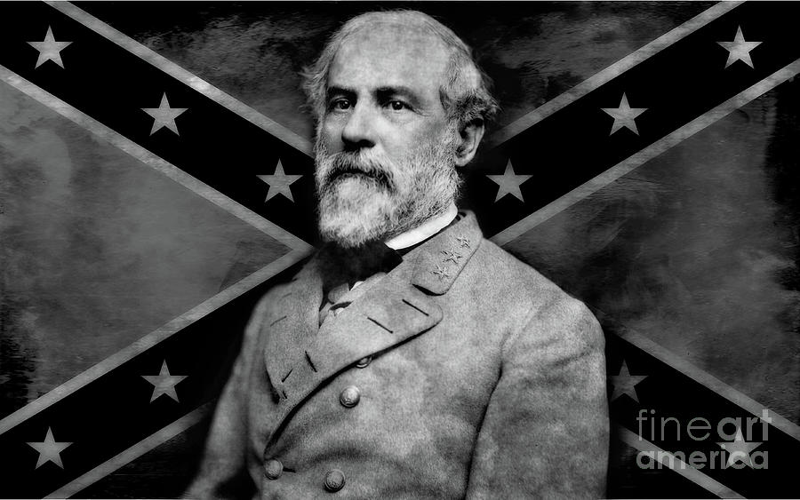 General Robert E Lee  Confederate Flag Digital Art