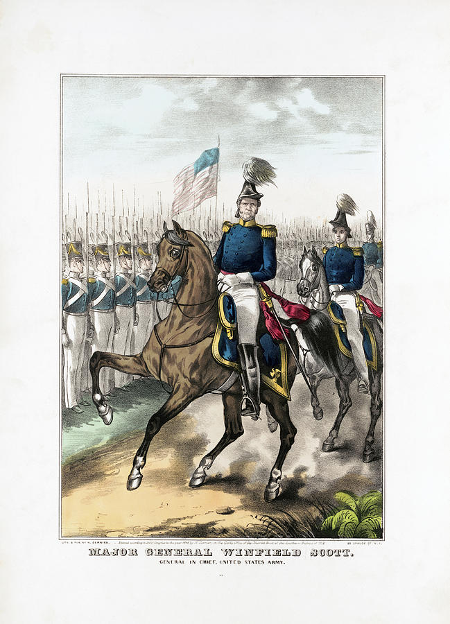 General Winfield Scott Reviewing Troops Drawing