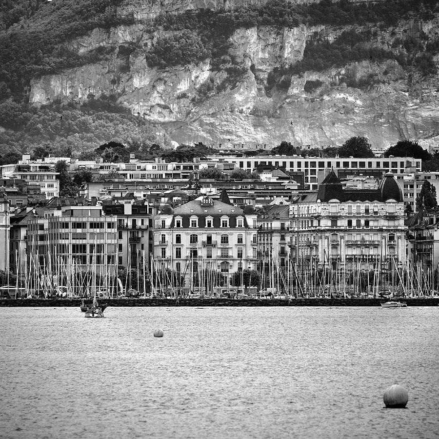 Mono Photograph - Geneve And Leman Lake.  Switzerland. Bw by Guido Montanes Castillo