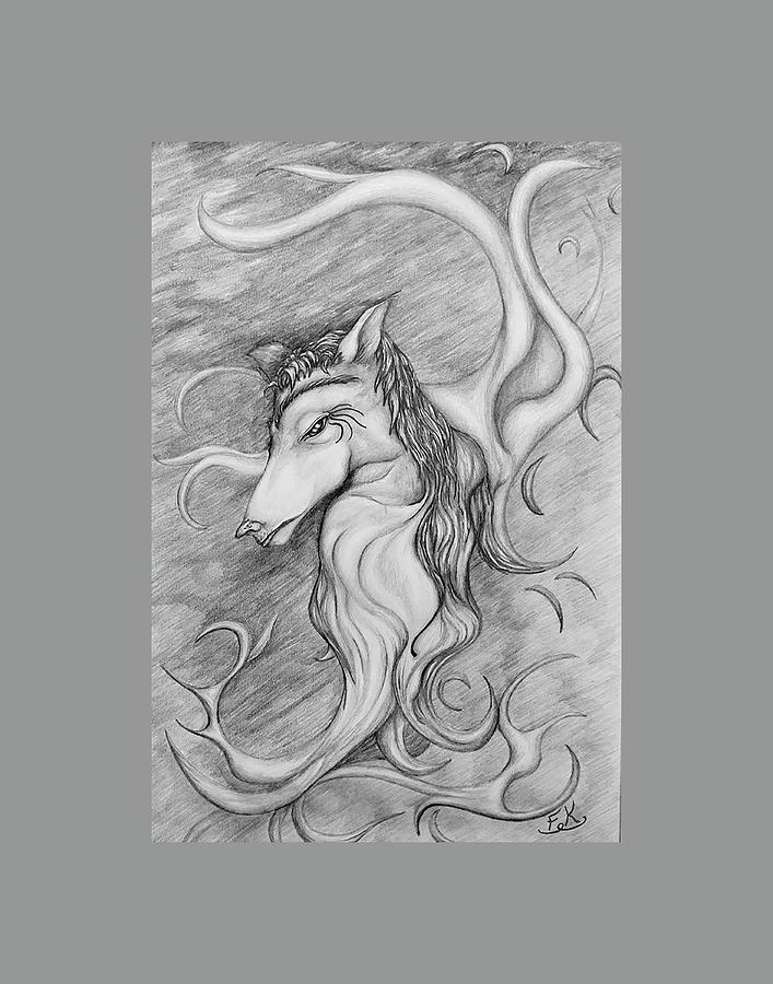 Genie Drawing - Genie by Franklin Kielar