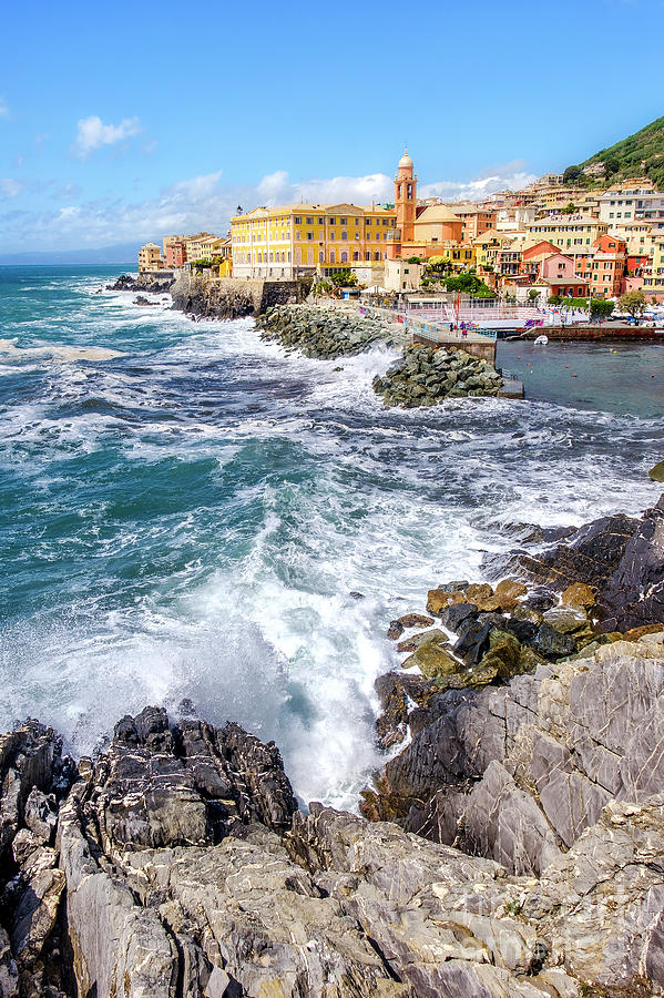 Genova Liguria Italy rough sea waves break rocks picturesque Genoese district Nervi background by Luca Lorenzelli