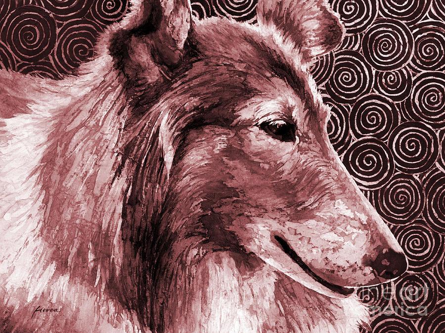 Tamu Painting - Gentle Spirit - Reveille VIII in maroon by Hailey E Herrera