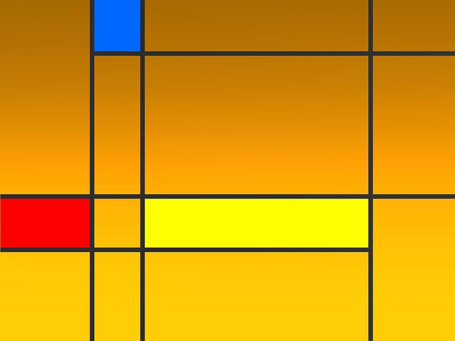 Geometric Art Over Golden Degraded Digital Art