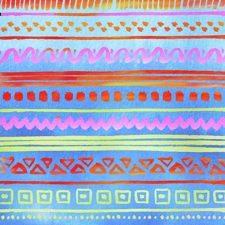 Geometric Boho Tribal Pattern Blue Digital Art